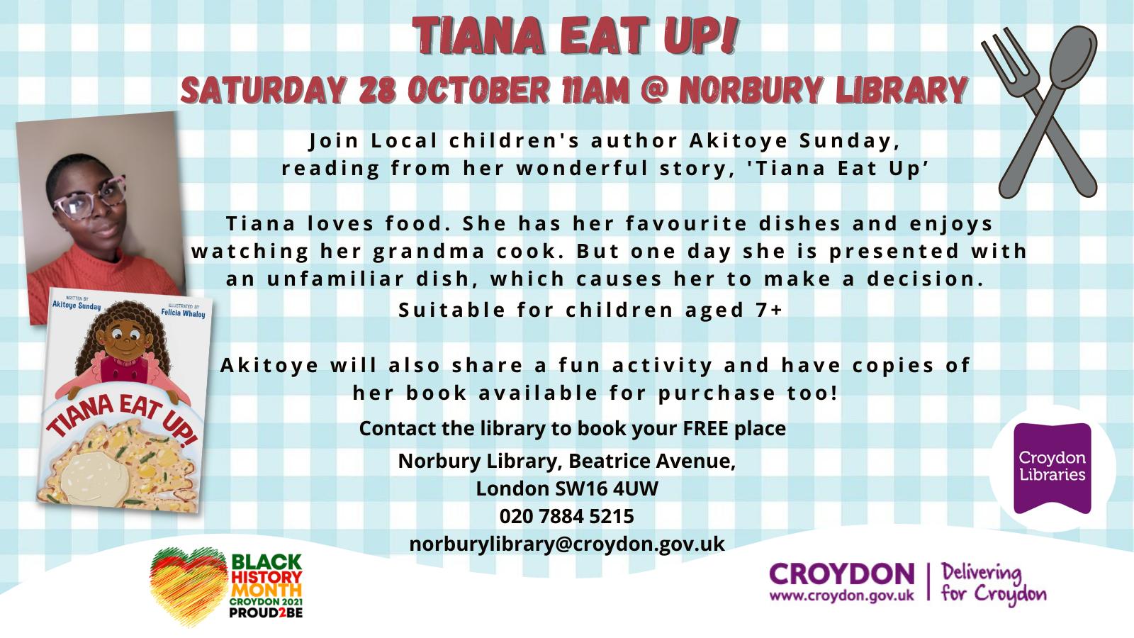 Tiana Eat Up! schools invite